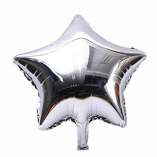 TOYMYTOY 18 pollici della stagnola palloncini Mylar stelle cinque-punto palloncino per partito 10pcs (argento)