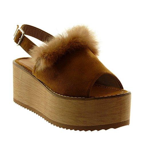 Angkorly - Damen Schuhe Mule Sandalen - knöchelriemen - Plateauschuhe - Peep-Toe - Pelz - Wooden - String Tanga Keilabsatz high Heel 8 cm - Camel BL221 T 36