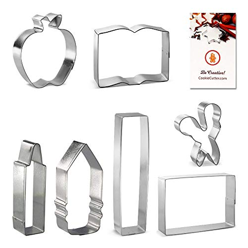 Back To School Teacher Appreciation 7 Pc Cookie Cutter Set HS0426 with Sugar Cookie Recipe Card. Foose - USA
