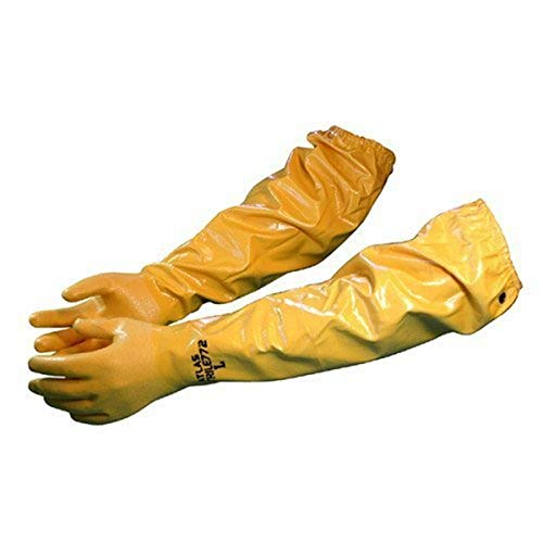 Atlas 772 Large Nitrile Chemical Resistant Gloves, 25', Yellow, 1-Pair