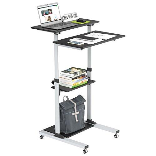 BONTEC Mobile Laptoptisch Ständer Halterung Notebook Wagen Trolley Höhenverstellbarer Workstation