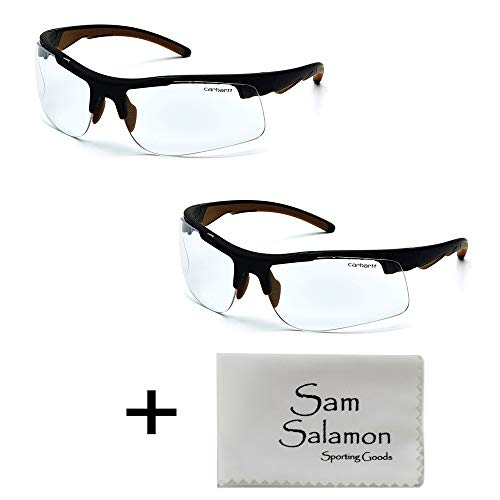 Carhartt Rockwood Safety Glasses, Clear Anti-Fog, Frustration-Free Packaging (2 Pack) w/Micro Sam Salamon Cloth
