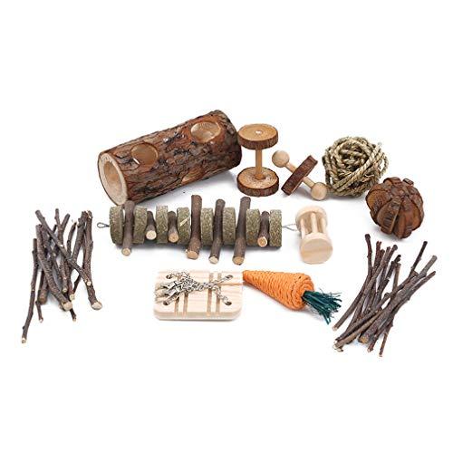 AOYEZIUS 10 piezas de hámster de madera masticar juguetes ecológicos Totoro juguete accesorios para mascotas