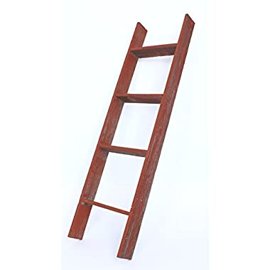 BarnwoodUSA Rustic Farmhouse Blanket Ladder - Our 4 ft Ladder can be Mounted Horizontally or Vertically and is Crafted From 100% Recycled and Reclaimed Wood | No Assembly Required | Red