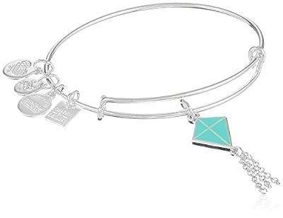 Alex and Ani Inspiration In Flight Shiny Silver/Blue Bangle Bracelet