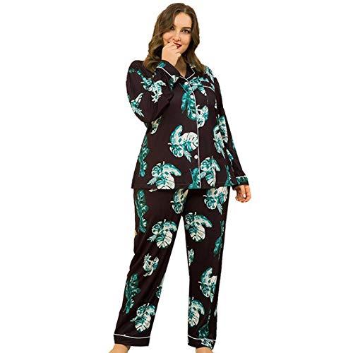 YZY Conjunto De Pijama De Manga Larga De Talla Grande para Mujer,Ropa De Dormir De Dos Piezas,Conjuntos De Salón Suave para Dormir con Botones para Mujer(Color:Negro,Size:3XL)