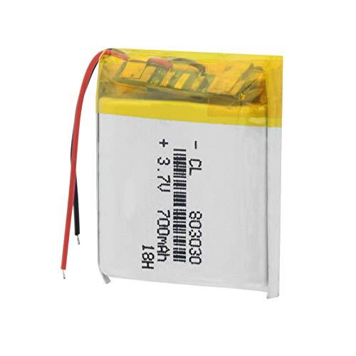 Batería Recargable de Iones de Litio de 3,7 V 700 mAh 803030, baterías de polímero de Litio de Litio Li-Po para Auriculares con Altavoz Bluetooth MP3 MP4