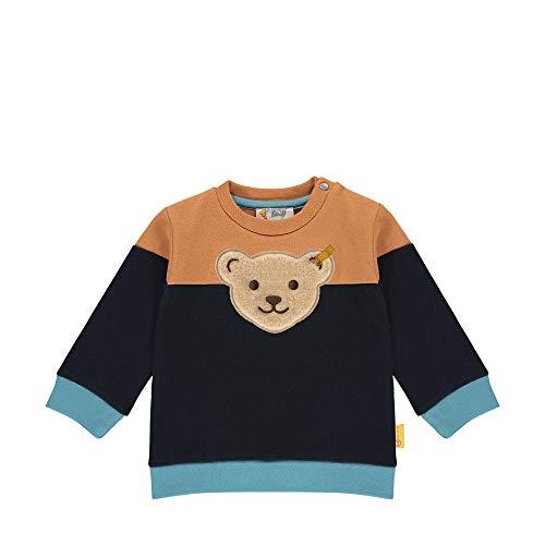 Steiff Baby-Jungen mit süßer Teddybärapplikation Sweatshirt, Navy, 068