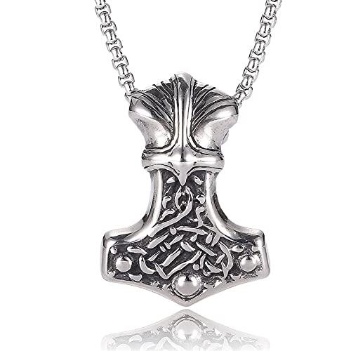 JOMYO Collar Vikingo, Collares Hombre, Collar De Acero De Titanio VIKING VIKING PUNK Para Hombres, Axila De Combate De Bronce, Colgante De Oso Animal, Hammer De Cabra Odin, Dios De La Destrucción, Mar