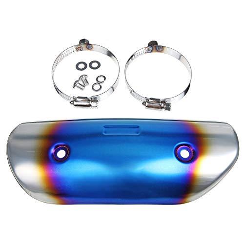 GNY Auspuff-Schalldämpfer-Rohr Wärmeschildschutzschutzabdeckung Fersenschutz Edelstahl Universal-für Motorrad (Color : Blue)