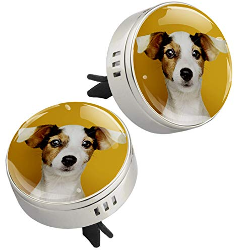 2PCS Adorable Puppy Print Car Aromatherapy Essential Oil Diffuser Locket Magnetic Closure Locket with Vent Clip 4 Refill Pads (Sliver)