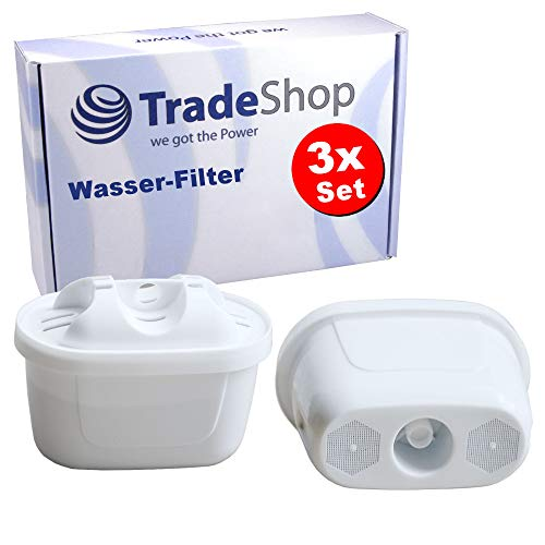 Trade-Shop 3X Filterkartuschen für Aqua Optima Evolve, Lauson AWF102 AWF103, Laica Bi-Flux, ClaroSwiss 30000004, AquaHous, AmazonBasics Wasser-Filter