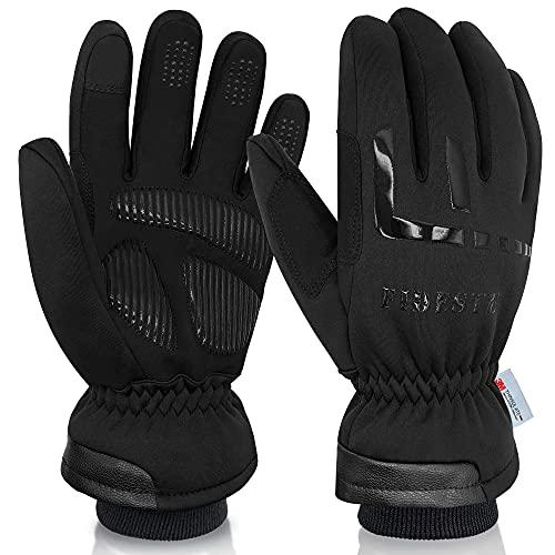 FIDESTE -40°F Wasserdicht Winter Thermo Handschuhe– 3M Thinsulate Touch Screen Warme Handschuhe – zum Radfahren, Reiten, Laufen, für Outdoor-Sport – für Frauen und Männer, Schwarz (L)