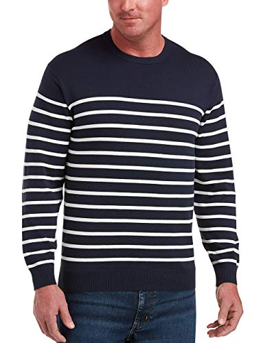 Amazon Essentials Men's Big & Tall Crewneck Sweater fit by DXL, Navy/White Mariner, 3XLT