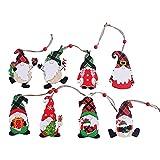 Lobounny 8 piezas Gnomo Santa Muñeca de Madera Colgante Gnomos Elf Adornos para Árbol de Navidad Decoración Regalos