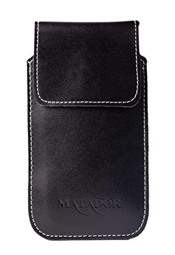 MATADOR kompatibel mit iPhone 6 / 6s / SE 2020 Ledertasche Echt Leder Hülle Hülle Magnet Clip Schlaufe Schwarz