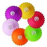 Cabilock - Cubierta de cristal de silicona con forma de taza de flores, tapa de rosca, cubierta con diamante, para cumpleaños, bodas, fiestas, decoración de mesa, color aleatorio, 6 unidades