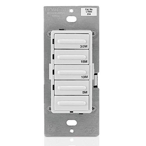 Leviton LTB30-1LZ Decora 1800W Incandescent/20A Resistive-Inductive 1HP Preset 5-10-15-30 Minute Countdown Timer Switch, White/Ivory/Light Almond Faceplates Included