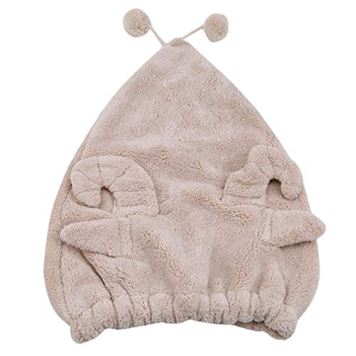 LWANFEI Trockenes Haar Kappe Cartoon Tierform Saugfähigen Haar Trockentuch Nette Weiche Bad Dusche Hut für Bad, Hellbraun (Schafe)