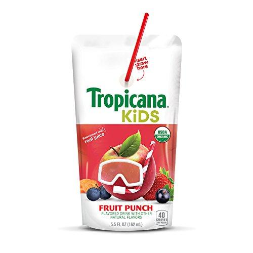 Tropicana Kids Organic Juice Drink Pouch, Fruit Punch, 5.5 oz, 32Count