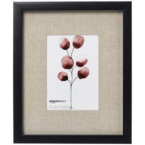 AmazonBasics Bilderrahmen Holz, Galerie-Stil, 23 x 28 cm für Bilder mit einer Größe von 13 x 18 cm, Schwarz, 2 Stück