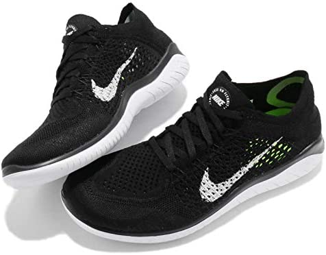 Nike Womens Free RN Flyknit 2018 Running Trainers 942839 Sneakers Shoes, Black/White (Black Upper), 11