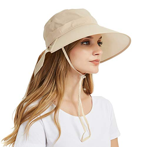 EINSKEY Sonnenhut Damen Faltbar Baumwolle UV Schutz Breite Krempe Safari Hut Wanderhut Outdoor Strand Fischerhut mit Nackenschutz