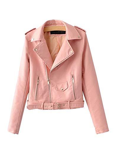 ShiFan Damen Lederjacke Übergangsjacke Lederimitat Jacke Bikerjacke Mit Gürtel Und Reißverschluss Pink S