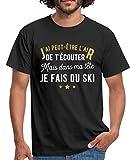 dans Ma Tête Au Ski T-Shirt Homme, L, Noir