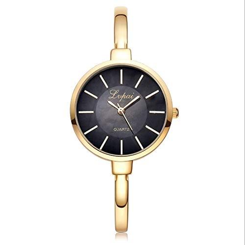 JINYANG Montre P170 Simple Cadran Rond en Alliage Compact Bracelet Montre à Quartz for Les Femmes (Black Gold) (Color : Gold Black)