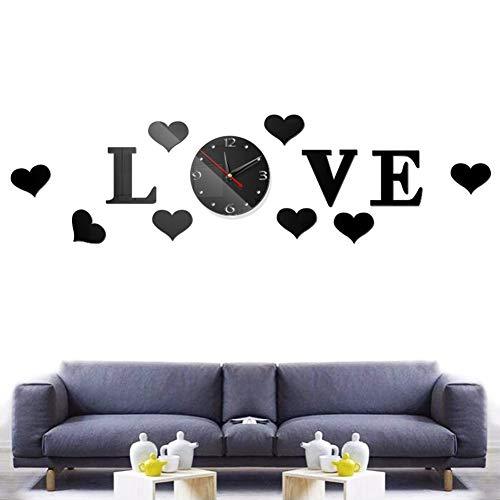 FANDE Reloj de Pared Love Love, Reloj de Pared con Espejo Acrílico Sin Marco 3D, Reloj de Pared Decorativo Silencioso Creativo DIY, Decoración de Oficina de Estudio en Casa