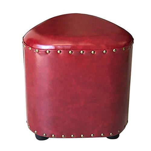 FSYGZJ Reposapiés Reposapiés Cambiador de Zapatos Banco de Cuero Creativo Pier Lazy Taburete bajo Asiento de Sala de Estar Triángulo Sofá Taburete Dormitorio (Rojo, Amarillo) (Color: Rojo)
