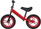 Bicicleta De Equilibrio Para Niños, Marco Ligero De Acero De Alto Contenido De Carbono, Asiento Y Manillares Ajustables En Altura, Bicicleta Con Ruedas Inflables De 12 Pulgadas, Adecuado(Color:rojo)