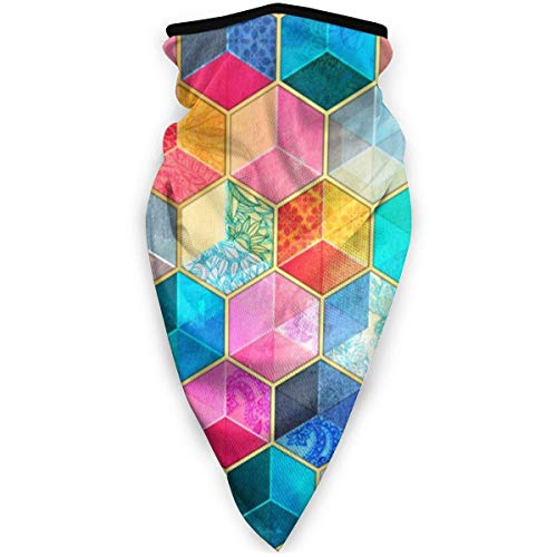 IZOU Crystal Bohemian Honeycomb Cubes Colorful Hexagon Pattern Neck Gaiter Face Mask,Multifunction for Man Women seasons Magic Scarf Bandana Balaclava