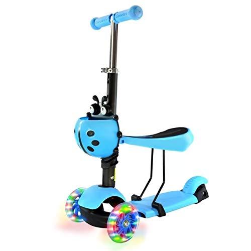 SEEDARY Scooter para Niños Niñas Patinete con Asiento Plegable, 3 Ruedas con Luces LED, Escúter de Aire Libre para 2-5 Años, Patinete Infantil Juguete Regalo de Navidad, Color Azul