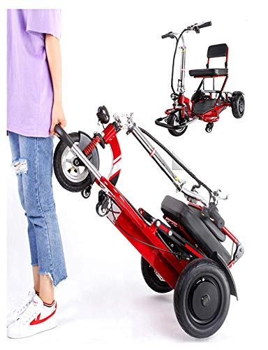 N/Z Life Equipment 3 Wheel Mobility Scooter Electric Power Mobile Wheelchair for Seniors Adult Foldable Mobility Scooter for Seniors Outdoor Recreation (Red)