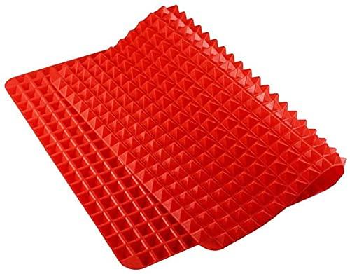YIQI Tappetino da Forno in Silicone a Forma di Piramide, Antiaderente, per Cottura salutare, Resistente al Calore, per Grigliare e Barbecue, 39.5 * 27.5 * 0.9cm, 1 Confezione Rosso