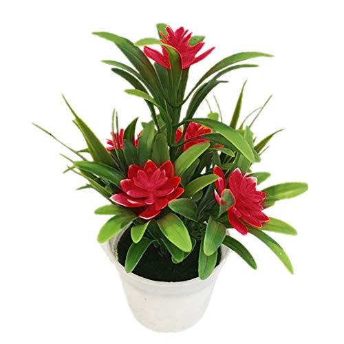 JujubeZAO Künstliche Blumen Nebel künstliche Blume Dekoration Haus Garten Hochzeit Party Bonsai Pflanze im Topf künstliche Lotusblüte Rot