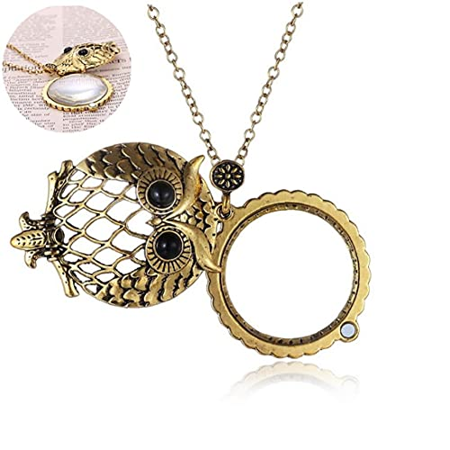 Hollow Owl and Magnifier Pendant Necklace Creative Long Alloy Necklace for Boys and Girls,Jewelry Accessory