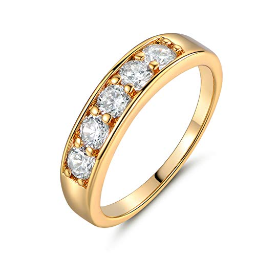 K Jewelry 18K Yellow Gold Filled Band 5-Stone Diamond Inlay Women Lady Banquet Party RingsMens Signet Yellow Citrine CTR Celtic Band Gold Steel Biker Rings Gift (5)