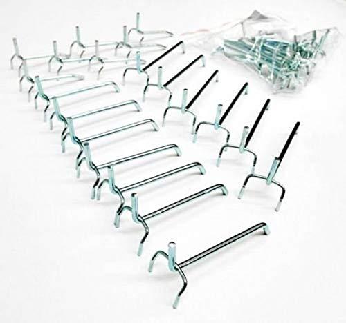 20 teiliges Haken-Set, Lochwandhaken für Werkzeugwand mit Euro-Lochung