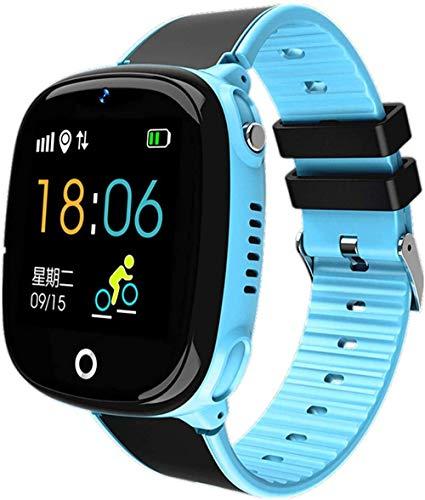 TIANYOU Smart Children Watch, Smart Watch Kids Gps Gps Pedómetro de Bluetooth Posicionamiento Ip67 Reloj a Prueba de Agua para Niños Smart Smart Pulsera-Negro Desgaste diario/Azul