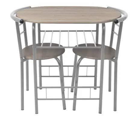 Ausla - Juego de mesa de cocina y 2 taburetes para desayuno, mesa de comedor, mesa de café de metal en marco plateado con estante de respaldo para bar, bistró, cocina, comedor