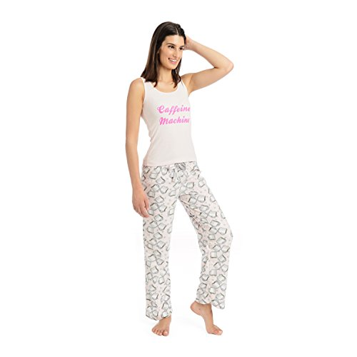 Body Candy Junior's Knit Pajama Tank Top with Luxe Fleece Sleep Pants, Pink, Large