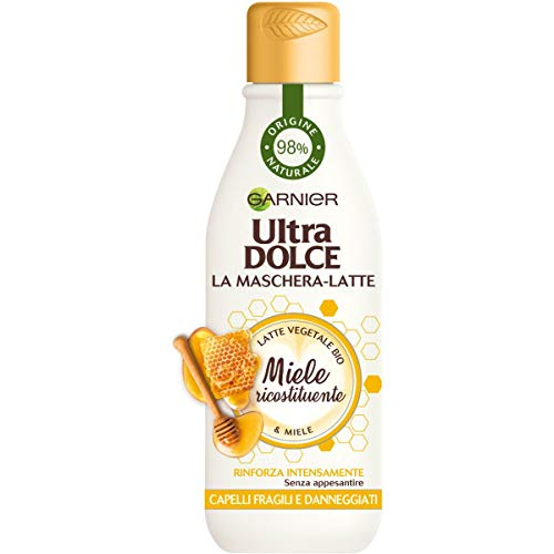 Garnier Ultra Dolce Maschera-Latte con Miele, Rinforza i Capelli senza Appesantire, Confezione da 3