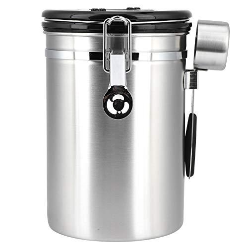 Recipiente para café, recipiente hermético para granos de café de 1,8 L, recipiente de acero inoxidable sellado para almacenamiento de hojas de té, molido de azúcar, con rastreador de fecha