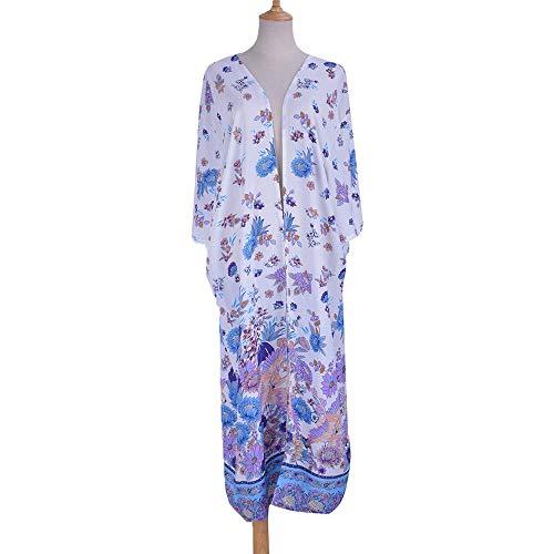 Strandjurken voor dames vrouwen bloemendruk sjaal vooraan open kimono badpak badpak overdekken gebreide jas lange strandjurk bikini strandwear badmode blouse nachthemd outwear voor strand, zwembad, partt