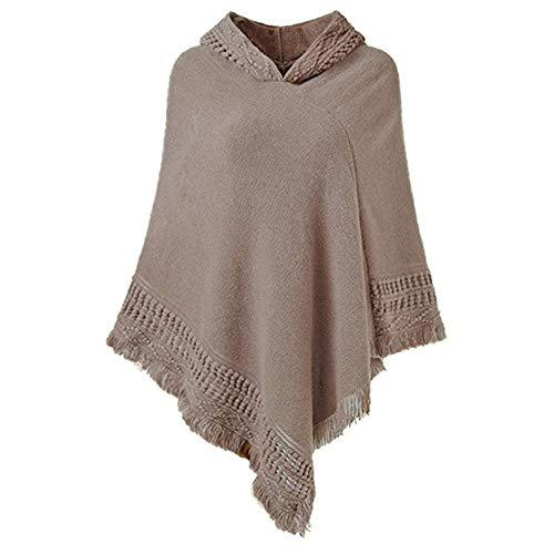 FXYY vrouwen elegante Cozy Poncho trui met franjes, gehaakte poncho's breien patronen Ponchos sjaals capes