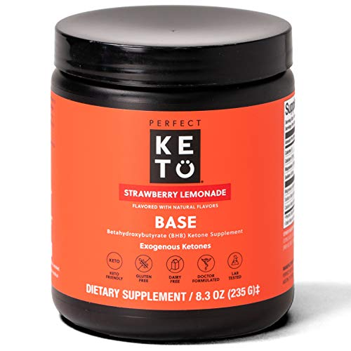 Perfect Keto Exogenous Ketones Powder, BHB Beta-Hydroxybutyrate Salts Supplement, Best Fuel for Energy Boost, Mental Performance, Mix in Shakes, Milk, Smoothie Drinks for Ketosis – Strawberry Lemonade from Perfect Keto