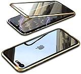 Funda Cristal Templado para iPhone SE 2020/iPhone 8/7 [Vidrio de Doble Cara][Adsorción magnética][Marco de metal][Resistente Arañazos] 360 Protección Funda para Apple iPhone SE Transparente,Oro